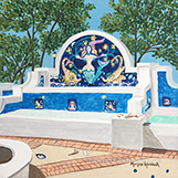 """Sarasota Mermaid Fountain"" 10""x10"" acrylic"